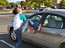 Amanda with keys locked in her car